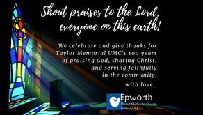 Centennial Letter to Taylor Memorial UMC