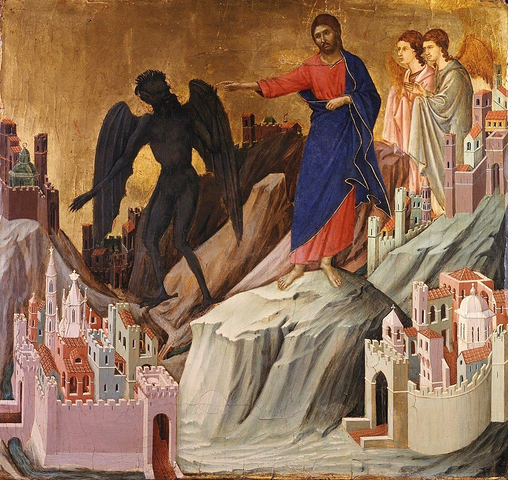 Duccio di Buoninsegna painting of Jesus' temptation  (ca. AD 1311, public domain)