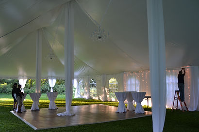 center pole covers hide the tent poles for a more elegant look toyour wedding or event!