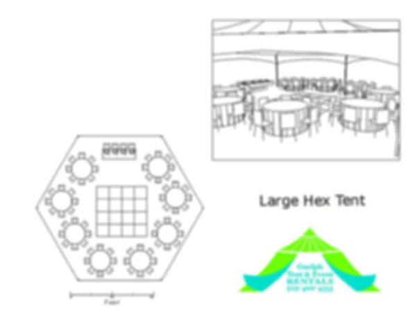 30x40 large hex tent rental, custom seating plans for your wedding.