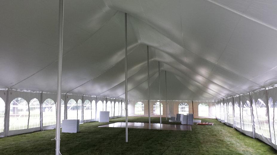 inside of a 40x120 tent rental
