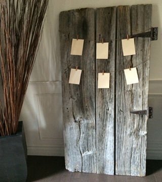 Help your guests easily find their seat with our barn board century door is great for dislaying seat numbers for your wedding g