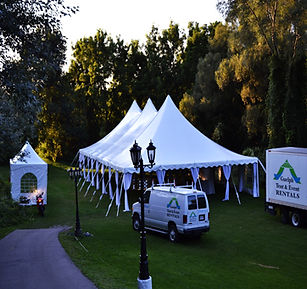 side pole tent draping helps coverup the exterior tent poles for a elegant look!