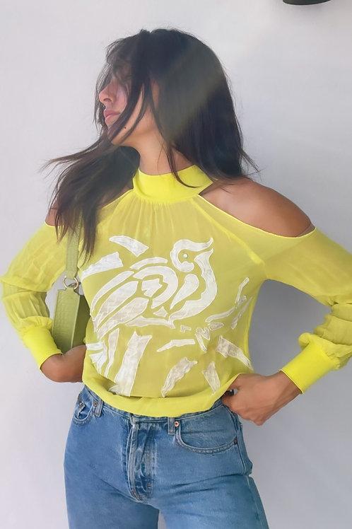 vintage yellow & white top