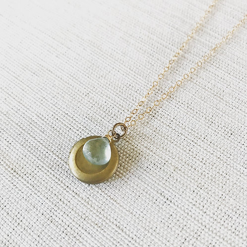 14k gold fill, faceted moss aquamarine, vintage brass locket necklace