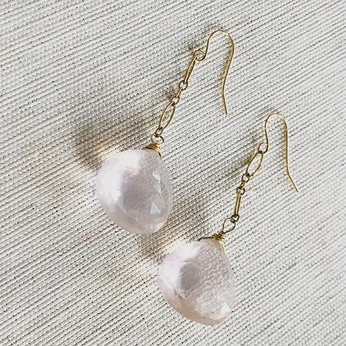 14k gold fill faceted rose quartz drop earrings