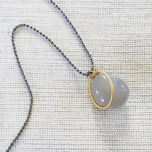 Two tone grey agate crescent moon necklace
