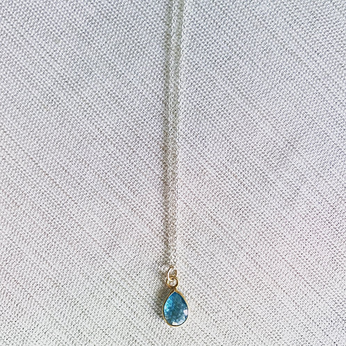 Two tone blue topaz delicate drop necklace