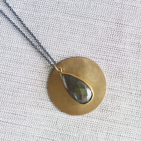 Two tone pyrite moon necklace