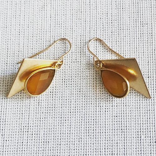 14k gold fill, citrine, geometric teardrop earrings