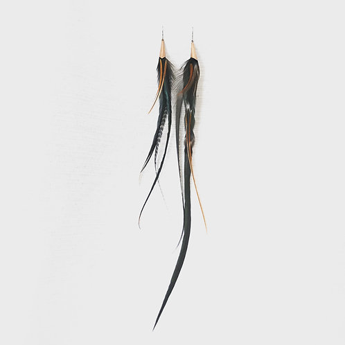 Copper dusk feather earrings