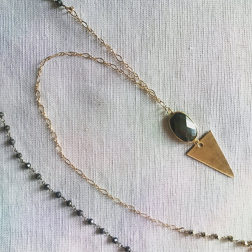14k gold fill desert arrow pyrite necklace