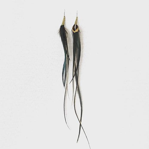 Golden dusk feather earrings