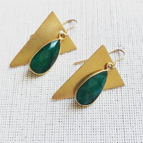 14k gold fill, green onyx, triangle teardrop earrings