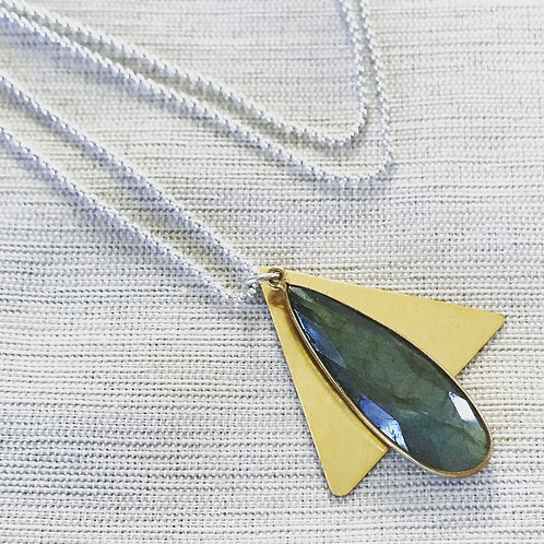 Two tone labradorite + vintage brass triangle necklace