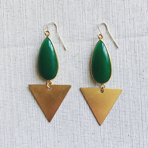 14k gold fill, green onyx, triangle  earrings