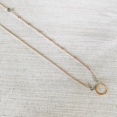 14k rose gold fill, asymmetric labradorite + gold vermeil crescent moon choker