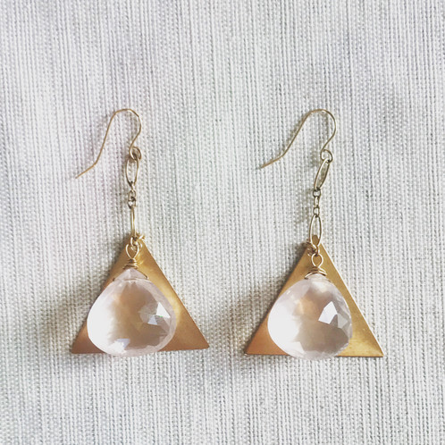14k gold fill faceted rose quartz triangle drop earrings feliciawillow