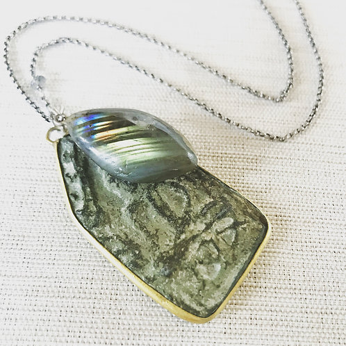 Oxidized sterling silver, labradorite + carved ancient buddha amulet necklace
