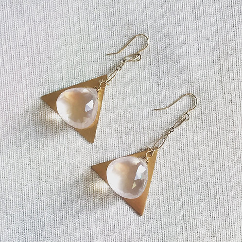 14k gold fill faceted rose quartz triangle drop earrings