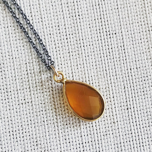 Two tone citrine delicate drop necklace