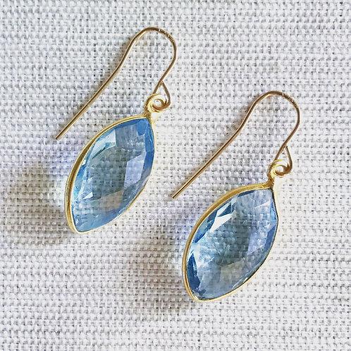 14k gold fill, blue topaz marquis drop earrings