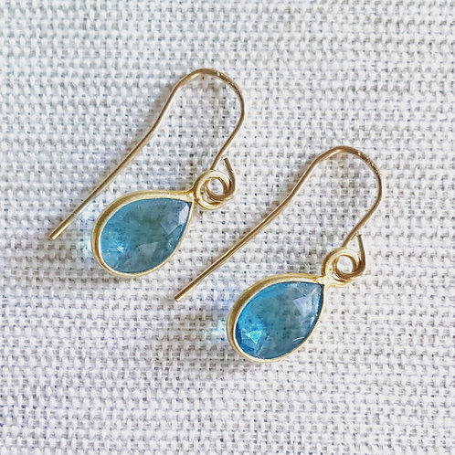 14k gold fill, blue topaz teardrop earrings