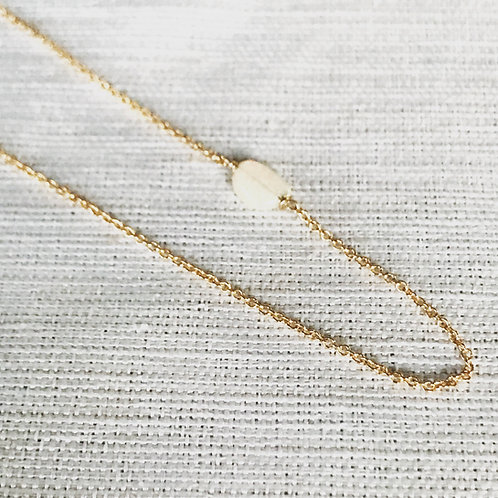 14k gold fill asymmetric white opal nugget necklace