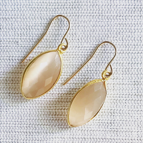 14k gold fill, peach moonstone marquis drop earrings
