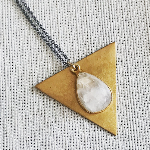 Two tone moonstone triangle necklace