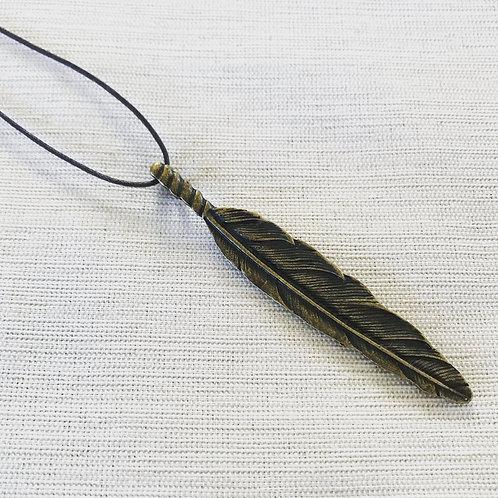Oxidized brass feather neck