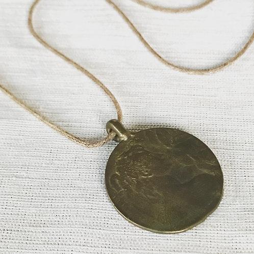 Recycled brass goddess necklace