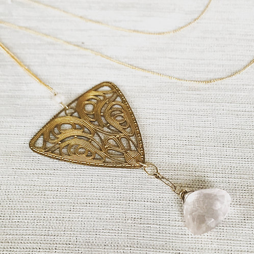 14k gold fill, vintage brass filigree + faceted rose quartz lariat necklace