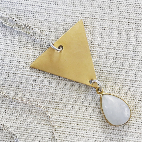 Sterling silver, rainbow moonstone + vintage brass triangle necklace