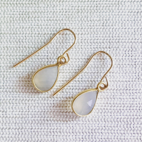 14k gold fill, pale blue chalcedony teardrop earrings