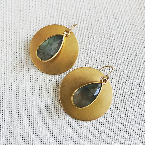 14k gold fill, labradorite teardrop moon earrings