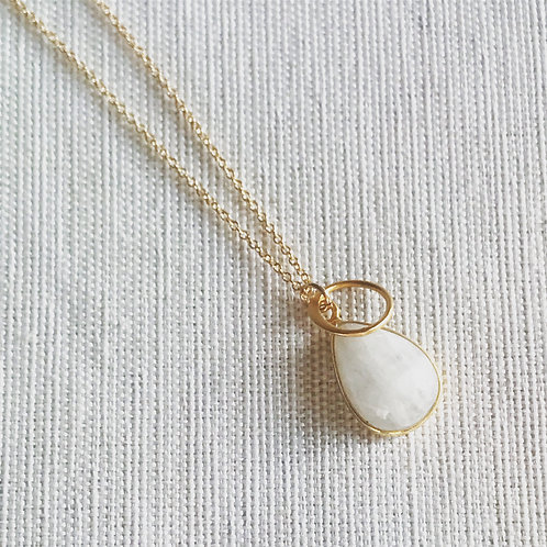 14k gold fill moonstone halo necklace