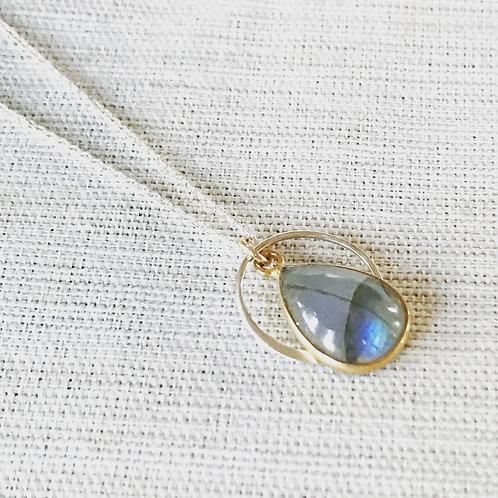 Two tone labradorite eclipse necklace