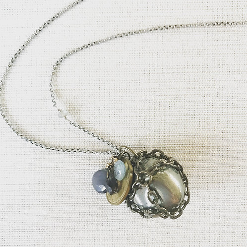 Mixed metal, pyrite hidden treasure necklace