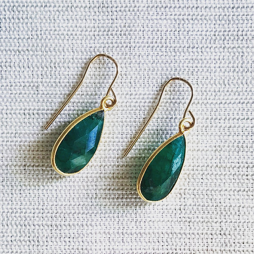 14k gold fill, green onyx teardrop earrings