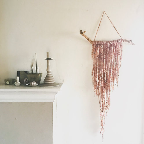 Dusty rose driftwood wall hanging-large