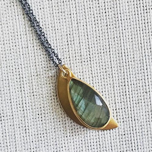 Two tone labradorite half moon necklace