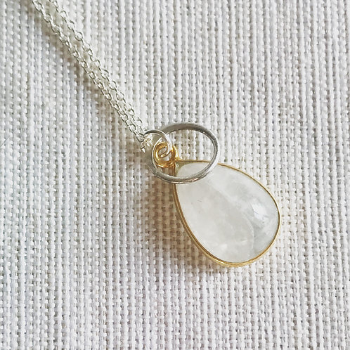 Two tone moonstone halo necklace