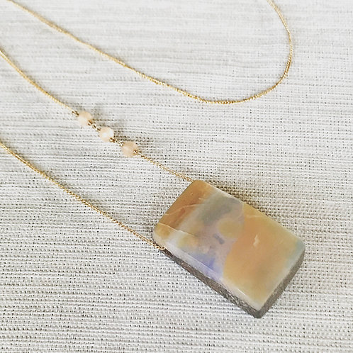14k gold fill, peach moonstone + boulder opal slice necklace