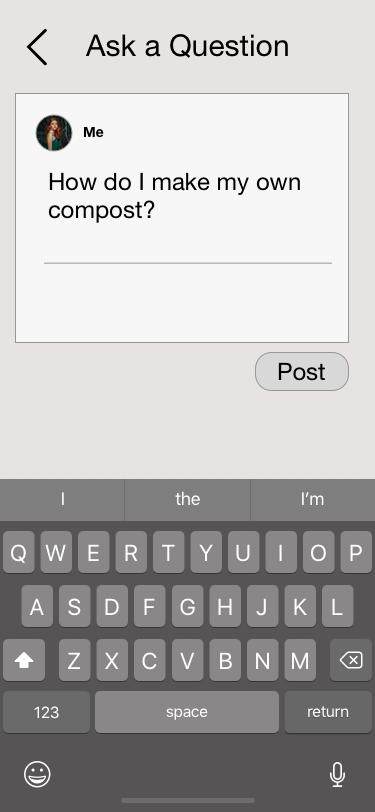 Forum (Post a Question) Screen