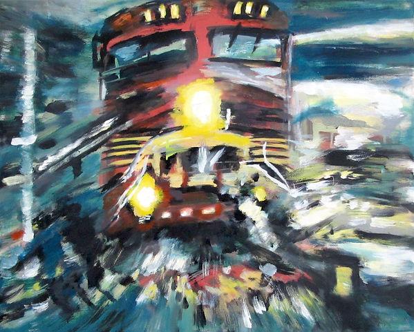 a train is coming, Öl auf Leinwand, 2016, 40 x 50 cm