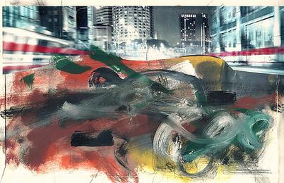 Raserei, Collage Mischtechnik, 2012, 19,5 x 30,8 cm