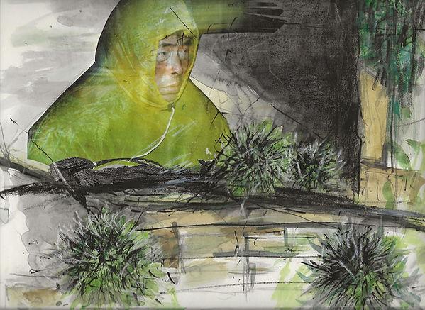 angeschwemmt, Collage, Mischtechnik 2016, 24,6 x 32 cm