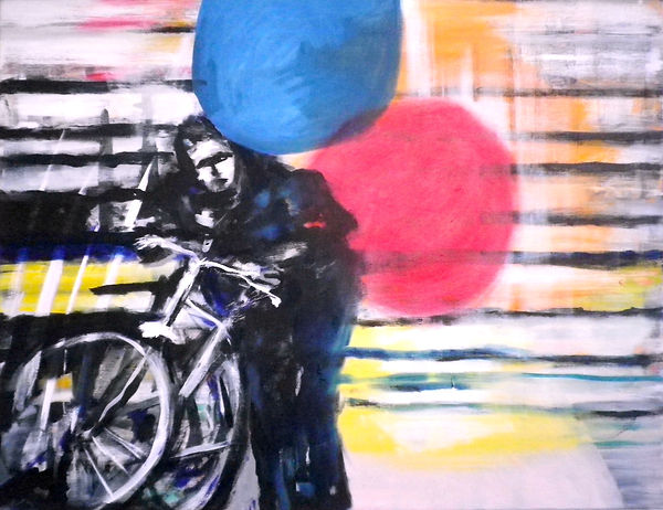 me & my bike, Öl auf Leinwand, 2019, 70 x 90 cm