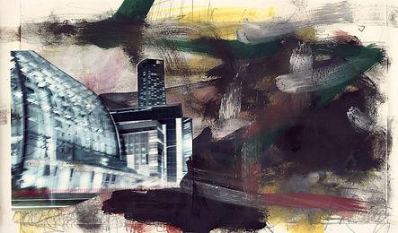 ohne Titel, Collage Mischtechnik, 2012, 17,4 x 30 cm